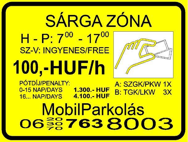 sárga parkolási zónát jelző tábla