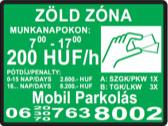 zöld parkolási zónát jelző tábla